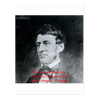 """エマーソン""""信条行為""""の知恵の引用文のギフト ポストカード"""