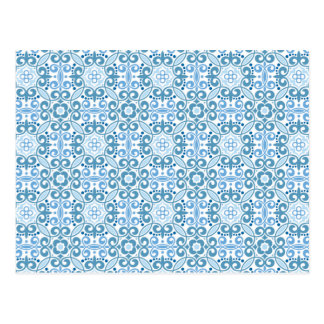 エマJanewayのヴィンテージの青パターン ポストカード
