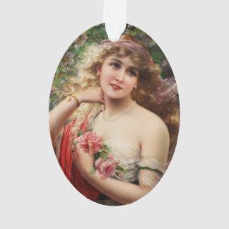 エミイルバーノン著バラを持つ若い女性 オーナメント