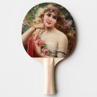 エミイルバーノン著バラを持つ若い女性 卓球ラケット