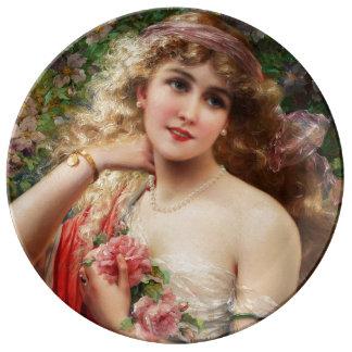 エミイルバーノン著バラを持つ若い女性 磁器プレート