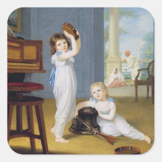 エミリーおよびジョージの石大工、c.1794-95 (キャンバスの油) スクエアシール