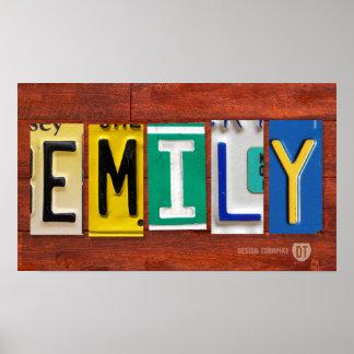 エミリーのナンバープレートの音名のカスタムな印ポスター ポスター