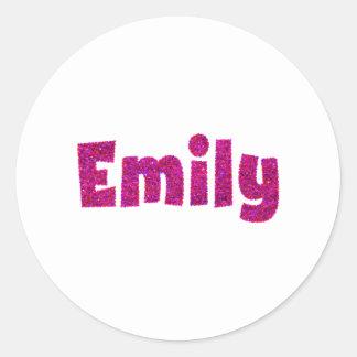エミリーのピンクのグリッター ラウンドシール