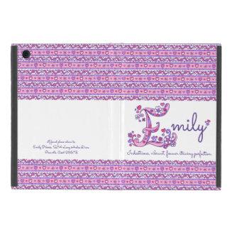 エミリーの手紙Eのハートおよび花の芸術のipadの場合 iPad Mini ケース