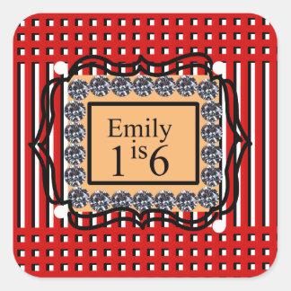 エミリーは16_sweet_diamond_monogram_red_designです スクエアシール