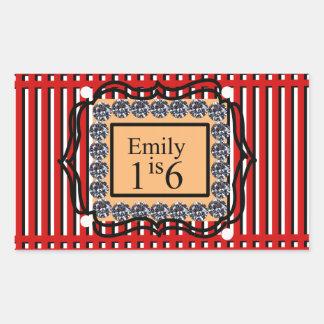 エミリーは16_sweet_diamond_monogram_red_designです 長方形シール
