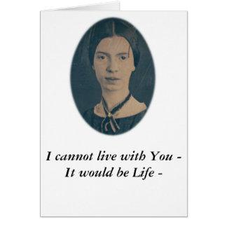 """エミリー・ディキンソンのおもしろカードは""""あなたと""""住むことができません カード"""