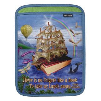 エミリー・ディキンソンの引用文の本の船の海場面 iPadスリーブ