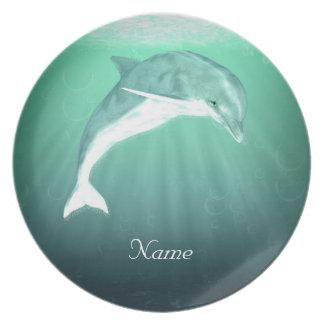 エメラルドの海の装飾的なメラミンプレートのイルカ プレート