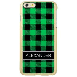 エメラルドの黒いバッファローの点検の格子縞の名前のモノグラム INCIPIO FEATHER SHINE iPhone 6 PLUSケース