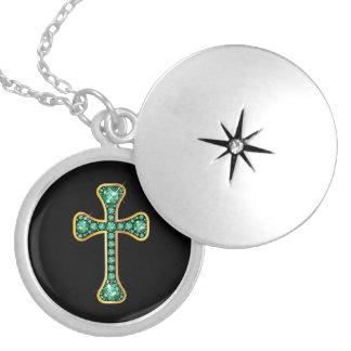"""""""エメラルドの""""石が付いているキリスト教の十字 ロケットネックレス"""