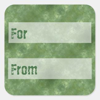 エメラルドグリーンのろうけつ染めのスタイルのギフトのラベル スクエアシール