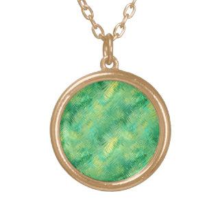 エメラルドグリーンのガラス状の質 ゴールドプレートネックレス