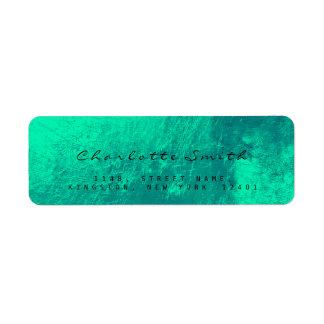 エメラルドグリーンのガラス金属の差出人住所ラベル ラベル