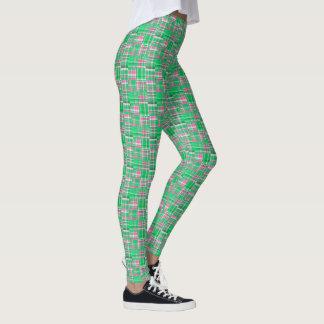 エメラルドグリーンのショッキングピンクのマドラスのパッチワークの格子縞 レギンス