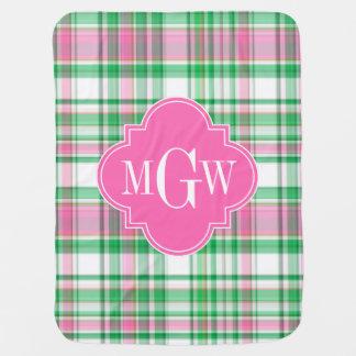 エメラルドグリーンのショッキングピンクの白くプレッピーなマドラスのモノグラム ベビー ブランケット