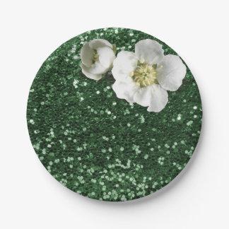 エメラルドグリーンのスパンコールの花の白いジャスミンのグリッター ペーパープレート