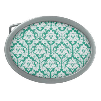 エメラルドグリーンのダマスク織 卵形バックル