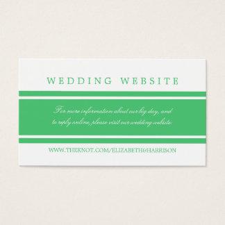 エメラルドグリーンのモダンな結婚式のウェブサイト 名刺