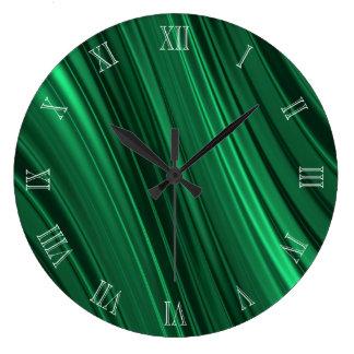 エメラルドグリーンの影で覆われたストライブ柄 ラージ壁時計
