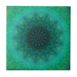 エメラルドグリーンの曼荼羅パターンの陰 タイル