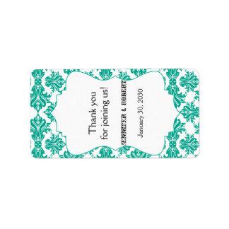 エメラルドグリーンの白いダマスク織の結婚式のリップ・クリームのラベル ラベル