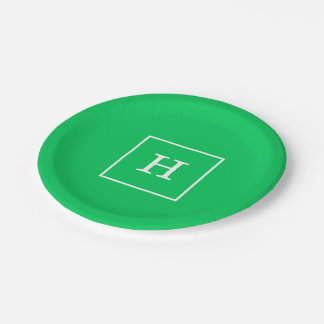 エメラルドグリーンの白によって組み立てられる最初のモノグラム ペーパープレート