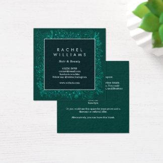 エメラルドグリーンの花のボーダー正方形の名刺 スクエア名刺