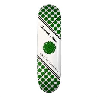 エメラルドグリーンの花のリボン 21.6CM スケートボードデッキ