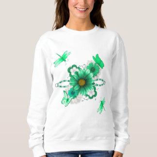 エメラルドグリーンの花柄 スウェットシャツ