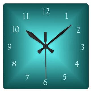 エメラルドグリーンのIlluminated>Plainの柱時計 スクエア壁時計