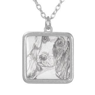 エリアナを引いているコッカースパニエル犬 シルバープレートネックレス