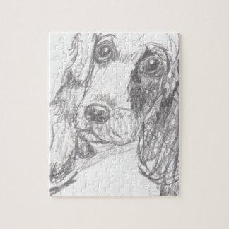 エリアナを引いているコッカースパニエル犬 ジグソーパズル
