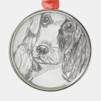 エリアナを引いているコッカースパニエル犬 メタルオーナメント