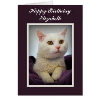 エリザベスのハッピーバースデー白い猫カード カード