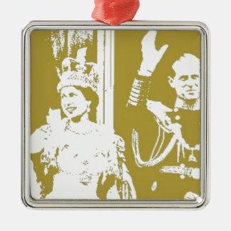 エリザベス女王の金記念祭のレトロ メタルオーナメント