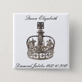 エリザベス女王の60周年記念ボタン 5.1CM 正方形バッジ