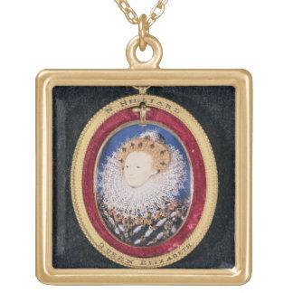 エリザベス女王一世のポートレート(w/c子牛皮紙で) ゴールドプレートネックレス
