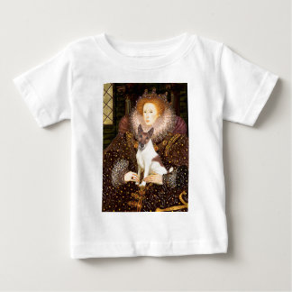 エリザベス女王一世-フォックステリア犬(brwn白の) ベビーTシャツ