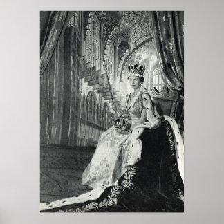 エリザベス女王二世の身に着けている即位の王位の象徴 ポスター
