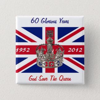 エリザベス女王60年の記念祭 5.1CM 正方形バッジ
