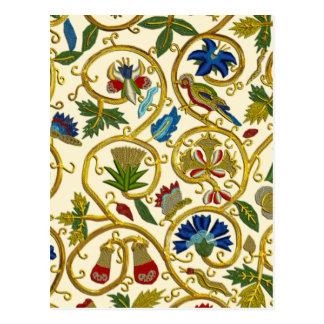 エリザベス朝渦巻の刺繍- Goldworkのimitatio ポストカード