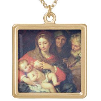 エリザベス(パネルの油)を持つ神聖な家族 ゴールドプレートネックレス