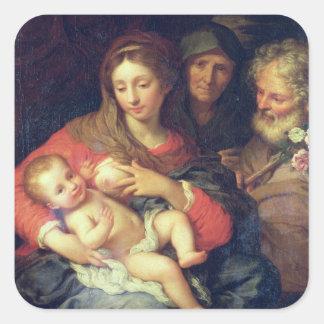 エリザベス(パネルの油)を持つ神聖な家族 スクエアシール