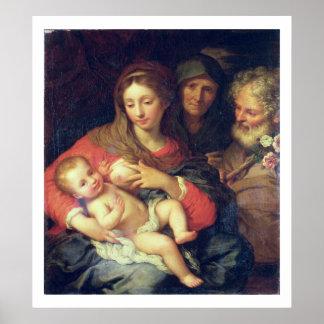 エリザベス(パネルの油)を持つ神聖な家族 ポスター