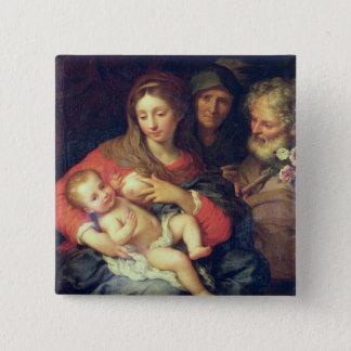 エリザベス(パネルの油)を持つ神聖な家族 5.1CM 正方形バッジ