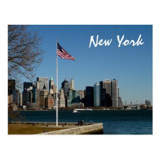 エリス島からのマンハッタンを下げて下さい ポストカード