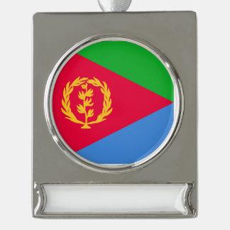 エリトリアの旗 シルバープレートバナーオーナメント