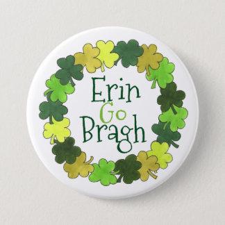 エリンはボタンBraghの緑のシャムロックのセントパトリックの行きます 7.6cm 丸型バッジ